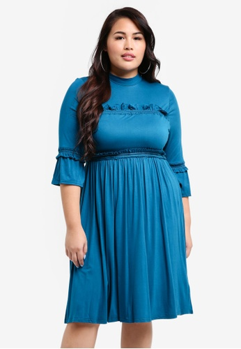 LOST INK PLUS green Plus Size Skater Dress With Double Frill 589E9AA8AA4FA6GS_1