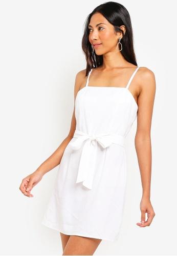 ZALORA BASICS white Basic Strappy Dress With Tie 9B452AAF654980GS_1
