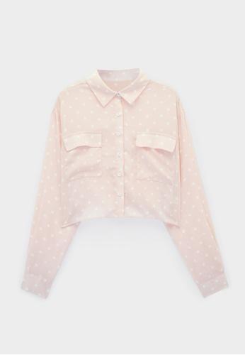 Pomelo pink Polka Dot Double Pockets Shirt - Pink 8453BAAE772904GS_1