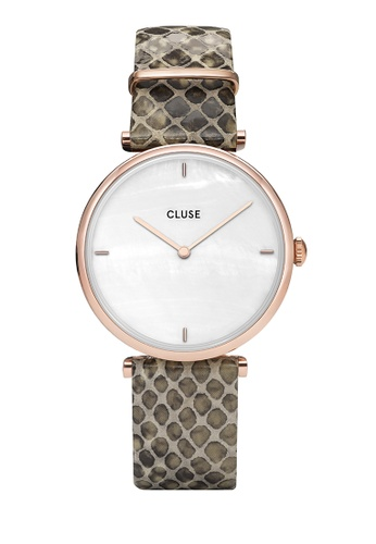 CLUSE gold Triomphe Rose Gold White Pearl/Soft Almond Python Watch 02622AC9B52FFAGS_1