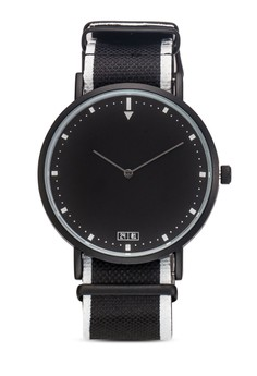 【ZALORA】 條紋紡織錶帶圓框手錶