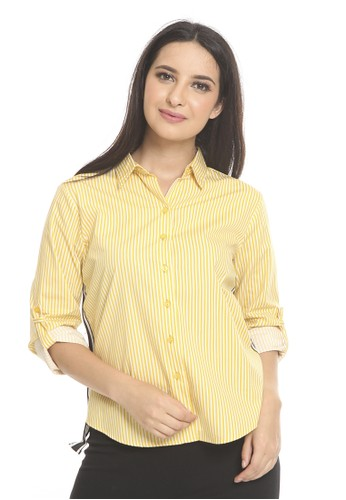 et cetera yellow Striped shirt with contrast tape 2C35AAABB2D95DGS_1