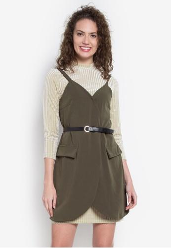 Hug green Overlap Slip Dress W/ Inner Top And Belt HU902AA0KDNPPH_1