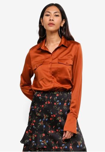 Hopeshow brown Long Sleeve Button Shirt 811B9AAB978190GS_1