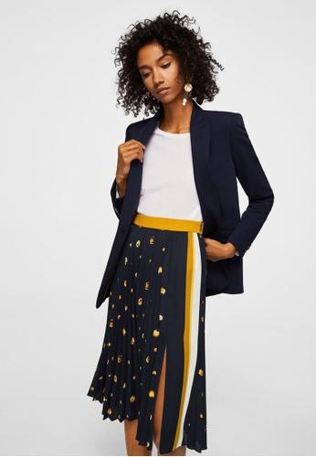 Mango blue Printed Pleated Skirt F5246AAD1AB58CGS_1