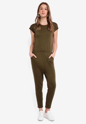 ZALORA BASICS green Basic Blouson Jumpsuit F61E1AA5FD0B86GS_1
