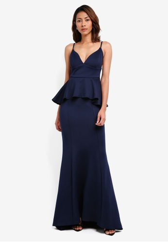 Goddiva navy V Neck Peplum Maxi Dress DBC08AA31B6BD7GS_1