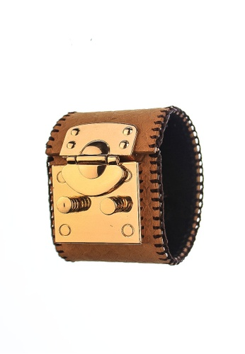 CSHEON brown Light Brown Vegetable Tanned Genuine Leather Treasure Chest Buckle Bracelet Cuff BD39AAC2B661B2GS_1
