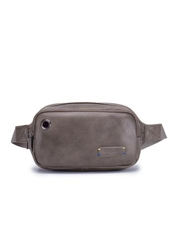 ENZODESIGN grey Soft Top Grain Cowhide Waist Bag SG10550GRY 59528ACE657044GS_1