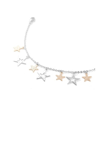 Glamorousky silver Anklet with Silver and Golden Star Charms F1F4BAC374EE39GS_1