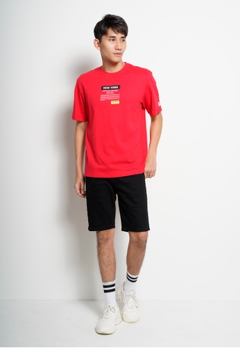 Hi Style red Men Oversized Short Sleeve Slogan Fashion Tee 62EBCAAB52CEF4GS_1