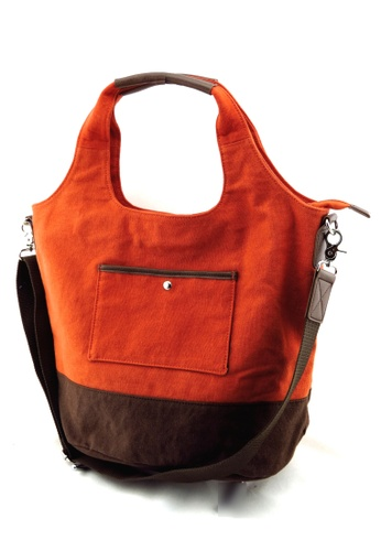 Esther Accessories brown Canvas Tote With Removable Shoulder Strap ES153AC14NDXHK_1