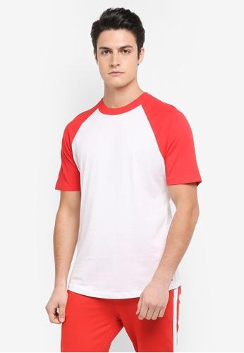 MANGO Man 紅色 短袖撞色拼接T恤 07036AACE47C6AGS_1