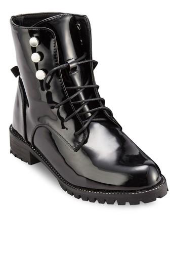 Nappa 水晶飾繫帶騎士短esprit高雄門市靴, 女鞋, 靴子