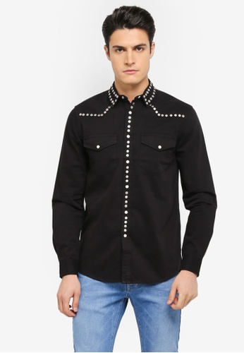 Topman black Black Studded Western Shirt TO413AA0T1IFMY_1