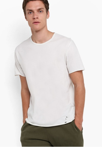 Topman white Short Sleeve Off White Distressed Classic Fit T-Shirt TO413AA70GQNMY_1