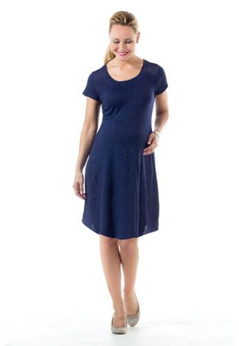 Bove by Spring Maternity navy Knitted Short Sleeves Cerulean Dress Navy LDN2402 BO010AA0FUBGSG_1