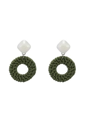 GLOBAL WORK green Marble Hoop Earrings FD9BDACB0E1A96GS_1