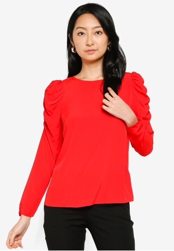 Dorothy Perkins red Red Poplin Sustainable Puff Sleeve Top E0A2BAA608B787GS_1