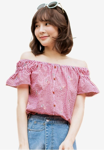 Tokichoi red Check Print Off-Shoulder Top 390C8AAB8C03D7GS_1