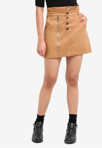 TOPSHOP brown Utility Button Mini Skirt F9073AA63E0764GS_1