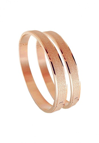 YOUNIQ red and gold YOUNIQ Sand Beach 18K Titanium Bangle Set- Couple Bangles (RoseGold) YO999AC65DBMMY_1