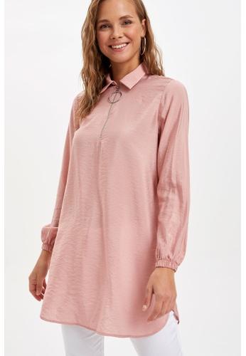 DeFacto pink Woman Long Sleeve Woven Tunic AC45BAA77322FFGS_1