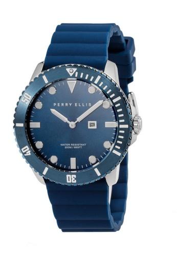 PERRY ELLIS blue Perry Ellis Deep Diver Unisex 42mm Quartz Watch 06006-03 D4601AC406BFCCGS_1