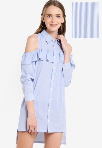 不對稱esprit tsim sha tsui裙擺挖肩連身裙, 服飾, 洋裝