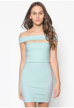 Cut Out Panel Bardot Bodycon Dress