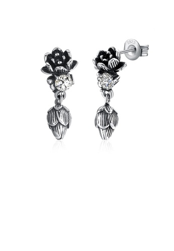 Glamorousky white 925 Sterling Silver Vintage Elegant Lotus Earrings with Cubic Zircon D2E8CACD0DAB17GS_1