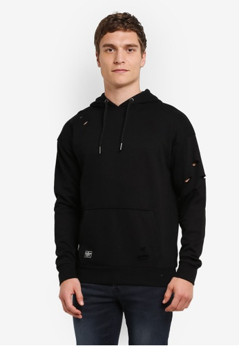Burton Menswear London black Threadbare Black Over Head Distressed Hoodie BU964AA0S2B6MY_1