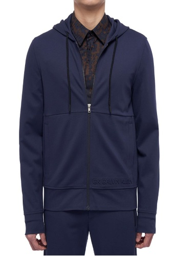 CK CALVIN KLEIN navy Lightweight Clean Face Interlock Long-Sleeved Hoodie B59A9AA42F168BGS_1