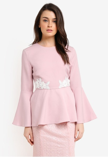 Zalia pink Embellished Peplum Top EFB0AAA34092A0GS_1