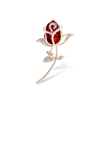 Glamorousky red Fashion and Elegant Plated Gold Red Rose Brooch with Cubic Zirconia 80E10ACD232366GS_1