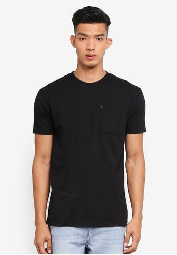 Penshoppe 黑色 素色短袖口袋T恤 463BBAA618B79FGS_1