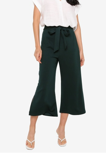 ZALORA BASICS green Tie Waist Culottes C34C6AAE8136D4GS_1