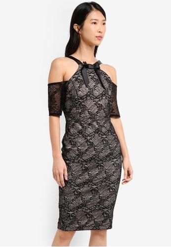 Vesper black Vesper Rhosa Lace Cold Shoulder Dress With Bow 41A3CAABDB2459GS_1