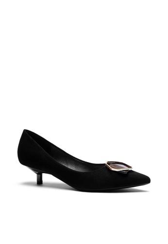 Twenty Eight Shoes 黑色 3.5CM尖頭扣飾絨面高踭鞋296-48 35CA9SHFF7F9FAGS_1