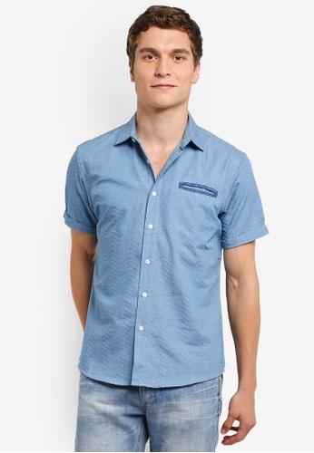 ZALORA blue Swirl Chambray Short Sleeve Shirt C806CAA9BD52F8GS_1