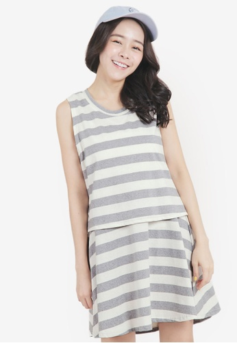 Tokichoi grey Stripe Top and Skirt Set 67762AA6CAFA4CGS_1