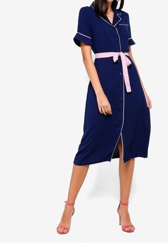 ZALORA multi and navy Midi Shirt Dress BC869AA7942008GS_1