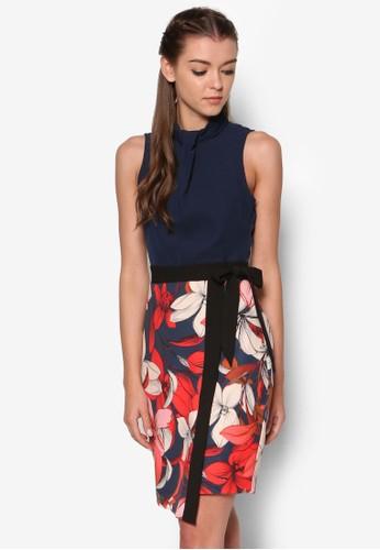 印花裹飾裙擺立領連身裙, esprit 評價服飾, 洋裝