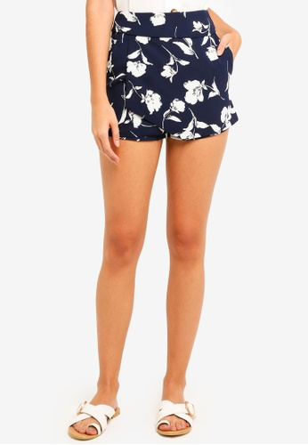 MDSCollections multi and navy Ellina High Waist Skorts In Navy Floral 77310AAED123A2GS_1