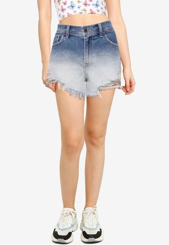 Hollister blue High Rise Vintage Fray Hem Shorts 4CA35AA7F79DE0GS_1