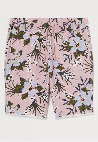 H&M pink and multi Regular Fit Sweatshorts 340E9AA4E64233GS_1