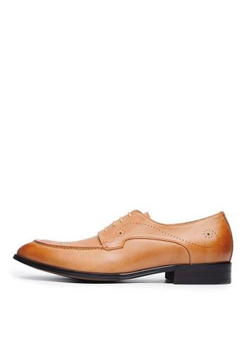 頭層打蠟牛皮。經典雅痞雕花皮鞋-04671-棕色, 鞋esprit 香港, 皮鞋