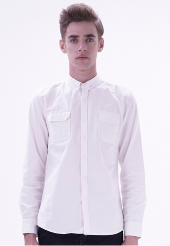 Drum white Smart Casual Long Sleeve Shirt DR425AA40HTNMY_1