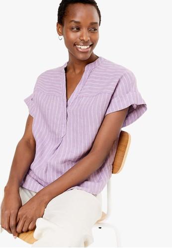 MARKS & SPENCER purple Pure Linen Striped Popover Blouse E7669AA6B39616GS_1