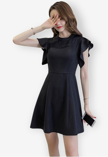Sunnydaysweety black Simple Lotus Leaf Sleeve One-piece Dress FD871AA24AEF4CGS_1